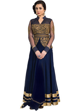Fabfiza Embroidered Net Semi Stitched Salwar Suit_FB-5022