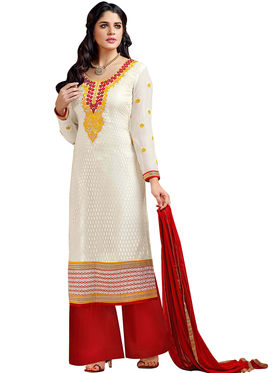 Fabfiza Embroidered Jacquard Semi Stitched Straight Suit_FBHB4-59009