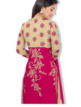 Fabfiza Embroidered Georgette Semi Stitched Straight Suit_FBHN2-41004