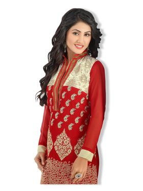 Fabfiza Embroidered Georgette Semi Stitched Straight Suit_FBHN2-41013