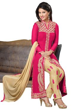 Fabfiza Embroidered Georgette Semi Stitched Straight Suit_FBHN3-55014