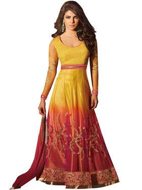 Fabfiza Embroidered Net Semi Stitched Anarkali Suit_FBHR-5028