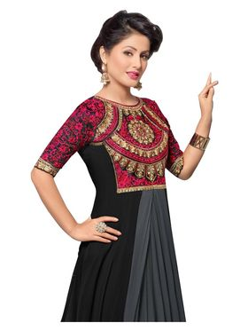 Fabfiza Embroidered Georgette Semi Stitched Anarkali Suit_FBHZ-42008