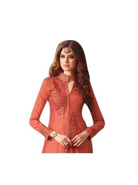 Fabfiza Embroidered Banarasi silk Semi Stitched Straight Suit_FBMS-3207