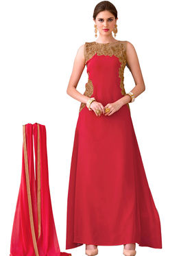 Fabfiza Embroidered Georgette Semi Stitched Anarkali Suit _FBVR-107