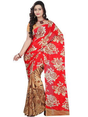 Florence Faux Georgette  Printed  Sarees FL-10963