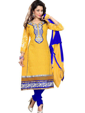 Florence Cotton Embroidered Dress Material - Yellow  - SB-2113