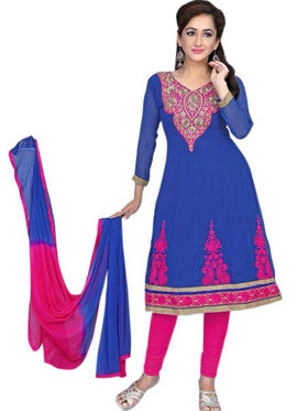 Florence Chiffon Embroidered Dress Material - Blue - SB-2139