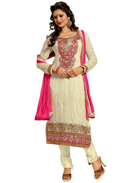 Florence Chiffon Embroidered Dress Material - Cream - SB-2145