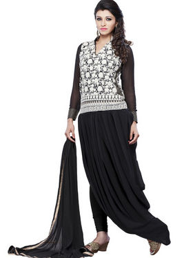 Florence Chiffon Embroidered Dress Material - Black - SB-2151