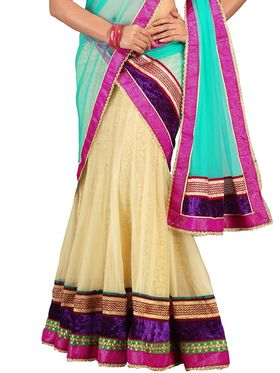 Florence Net with Braso Embroidered Lehenga - Cream