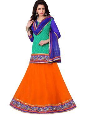 Florence Net Embroidered Lehenga - Orange