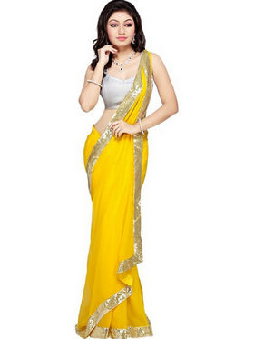 Florence Satin Embriodered Saree - Yellow - FL-10218