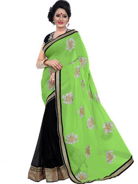 Florence Chiffon Embriodered Saree - Green & Black - FL-10242