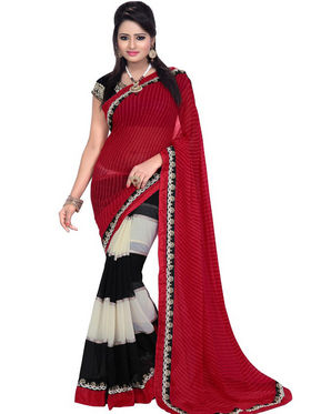 Florence Chiffon Embriodered Saree - Red & Black - FL-10252