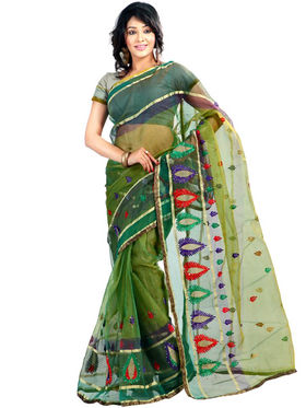 Florence Tissue Embriodered Saree - Green - FL-15192