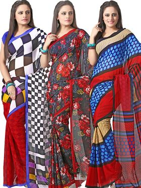 Pack of 3 Florence Printed Faux Georgette Saree - FL_Dani6_ 3_10