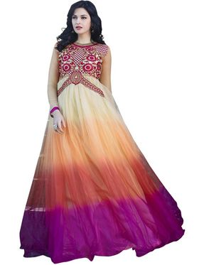 Florence Net & shantoon Embroidered Gown - Multicolor