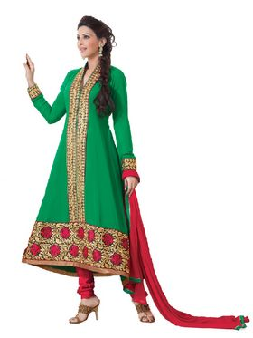 Florence Georgette Anarkali Semi-Stitched Suit-Green-SB-1440