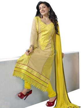 Florence Chiffon Embroidered Dress Material - Yellow - SB-1724