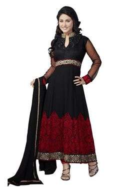 Florence Georgette  Embroidered Dress Material - Black - SB-1734