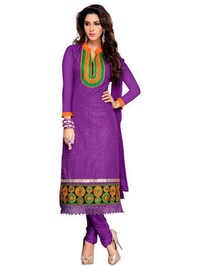 Florence Georgette  Embroidered Dress Material - Purple - SB-1787