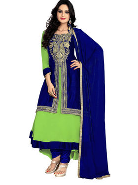 Florence Georgette Embroidered Dress Material - Olive Green