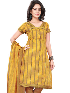 Florence Cotton Printed Dress Material - Yellow - SB-2752