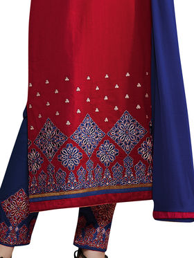 Florence Cotton Embroidered Dress Material - Red - SB-2780