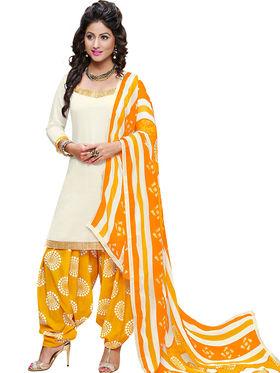 Florence Cotton Printed Dress Material - Creame & Yellow - SB-2824
