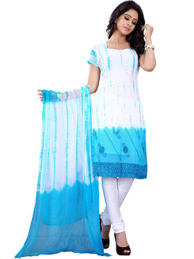Florence Georgette Embroidered Dress Material - White & Sky blue - SB-2709
