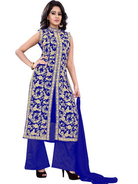 Florence Georgette Embroidered Dress Material - Blue - SB-2723