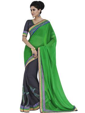 Pack of 3 Indian Women Embroidered Chiffon & Jacquard Designer saree -oct11