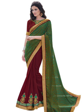 Bahubali Georgette and khushi brasso Embroidery Saree -GA20026