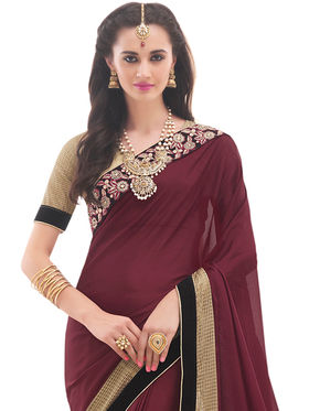 Indian Women Embroidered Chinon Saree -Ga20232