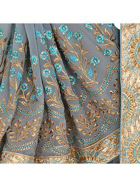 Khushali Fashion Embroidered Georgette Half & Half Saree_KF34