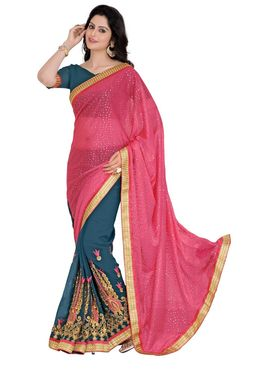 Khushali Fashion Embroidered Georgette Half & Half Saree_KF36