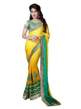 Khushali Fashion Embroidered Georgette Half & Half Saree_KF43