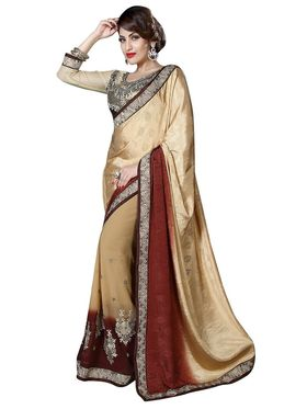Khushali Fashion Embroidered Georgette Half & Half Saree_KF45