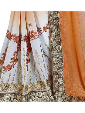 Khushali Fashion Embroidered Georgette Half & Half Saree_KF46