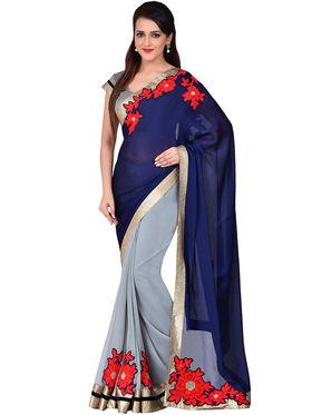 Shonaya Embroidered Georgette & Chiffon Crepe Sarees -Hivl2-63010