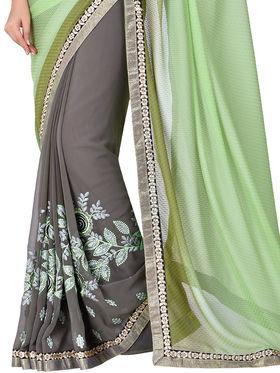 Shonaya Embroidered Georgette & Satin Sarees -Hivl3-63021