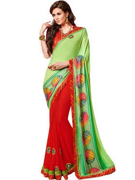 Indian Women Bandhani Bandhani Print  Chiffon & Georgette Saree -Ic11207