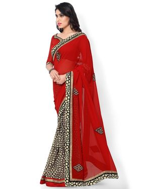 Indian Women Printed & Embroidered Georgette Saree -ic05