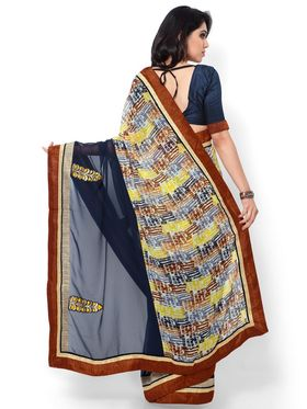 Indian Women Printed & Embroidered Georgette Saree -ic17