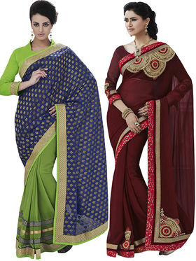 Pack of 2 Bahubali Embroidered Sarees - GAL855