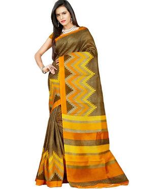 Inddus Bhagalpuri Silk Printed Saree - Yellow - IND-BC-12005-B