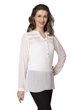 Ishin Georgette Solid Top - White_INDWT-5025