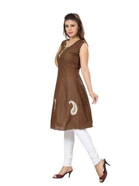 Ishin Poly Cotton Printed Kurti - Brown_ADNK-296