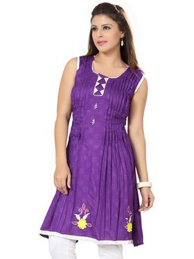 Ishin Poly Cotton Printed Kurti - Purple_ADNK-307